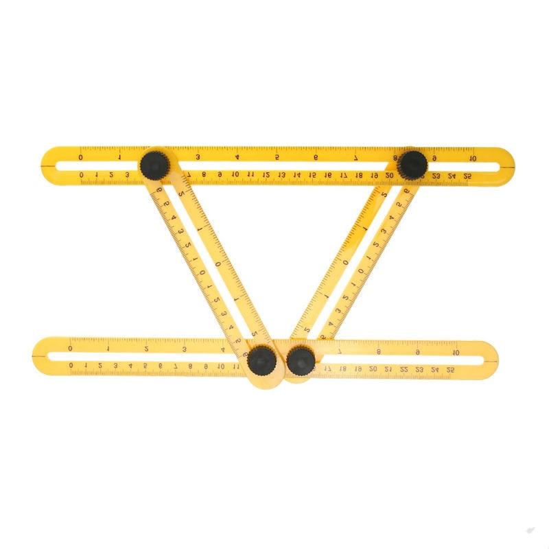 купить Angle Ruler 4 Folding Angle Measuring Tool Instrument Multifunctional Mechanism Slides Measuring Instrument Template Tool Ruler онлайн