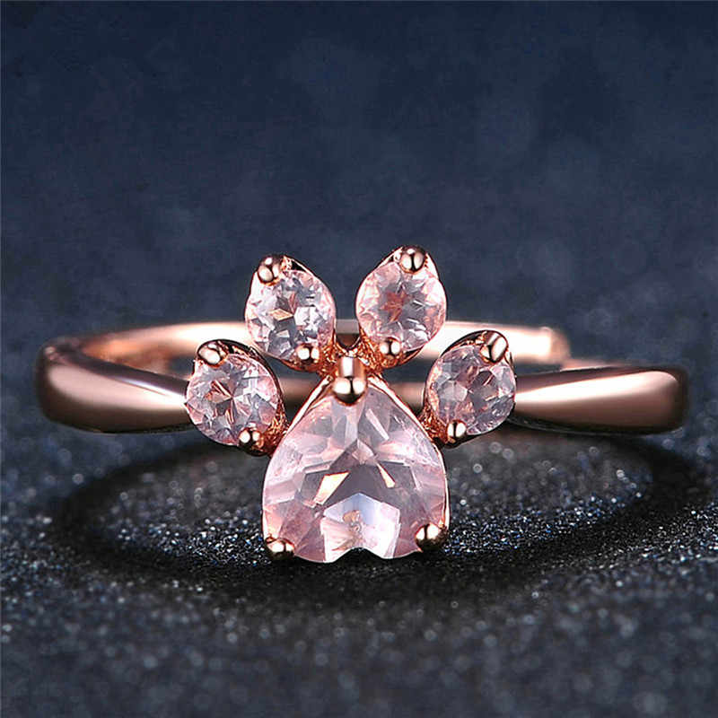 1Pc ローズゴールドリング女性のロマンチックな結婚式ピンククリスタル CZ 愛のギフトジュエリーかわいいの足の猫爪口調節可能なリング