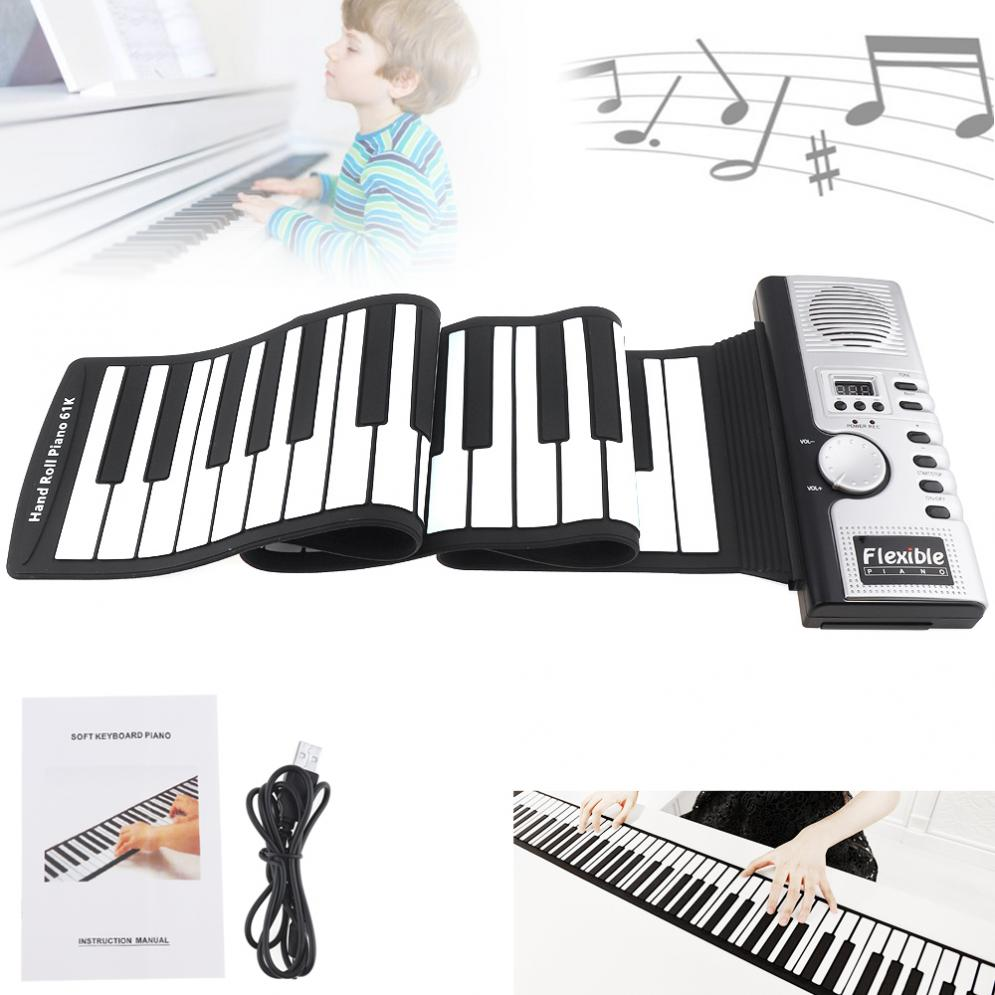 61 Keys Electronic Portable Silicone Flexible Hand Roll Up Piano Built-in Speaker MIDI Out Keyboard Organ61 Keys Electronic Portable Silicone Flexible Hand Roll Up Piano Built-in Speaker MIDI Out Keyboard Organ