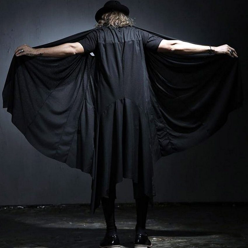 Cool Men's Gothic Fashion Black Long Vest Brand Loose Casual Cardigan Cape for Costume Stage