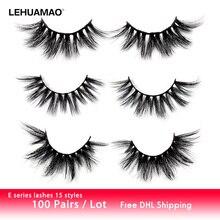 LEHUAMAO 100Pairs/Lot False Eyelashes 3D Mink Lashes Thick unique Criss-cross Eyelash Full Fluffy wispy lash Reusable Wears Lash