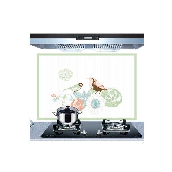 Самоклеющиеся обои для кухни из алюминиевой фольги, наклейки для кухонного шкафа, маслостойкие водонепроницаемые Мультяшные наклейки на стену - Цвет: C