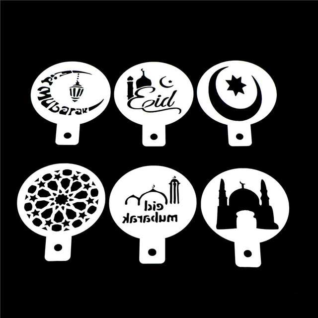 3/6 pcs Ramadan Eid Mubarak lamp Design cake stencils,baking cupcake ramadan decoration Tools biscuit Mousse cake Template