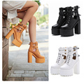2017 Spring Woman Platform Boots Fashion Round toe Ankle high heels boots Women Lace Up Boots Room Shoes Black/White/Brown 39