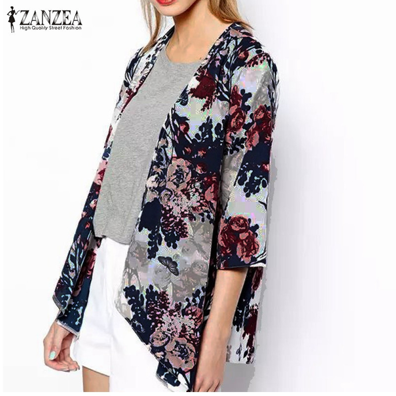 ZANZEA 2017 Fashion Womens Boho Kimono Cardigan Shawl Chiffon Flower Printed Blouses Ladies Tops 3/4 Sleeve Cover Ups S-6XL