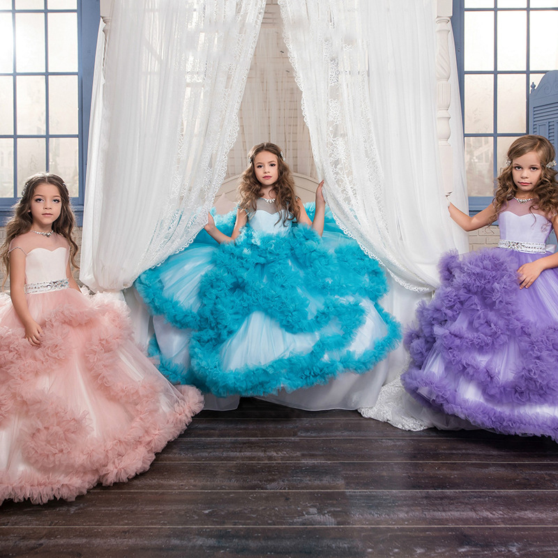 New Kids Pageant Evening Gowns birthday costum ball gown kids evening gown first communion   dresses   for   girls