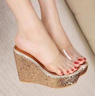 9ef86a4ae70 Women Sandals 2016 Transparent Women Platform Sandals Glitter Wedges High  Heel Slippers Sandals Summer Shoes Woman XWG0003-5
