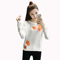 2017 New Women Shirts Floral Loose O-Neck Embroidery Full Sleeve Set Head Left Shoulder A Sweater Blouse Shirt White 6320