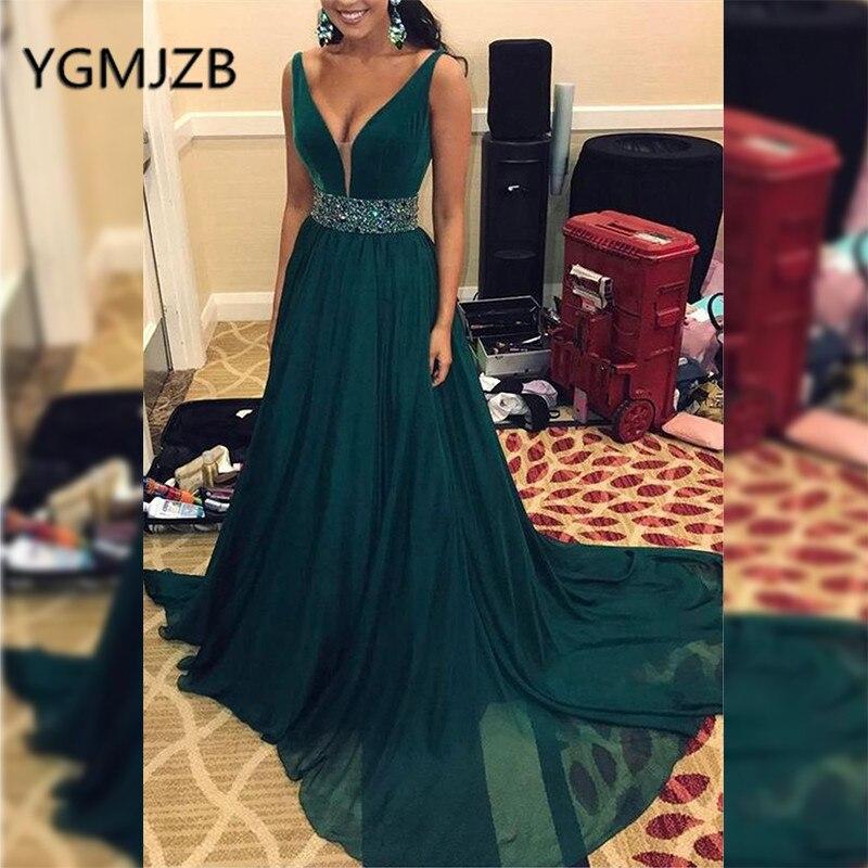 Neue Sparkly Tiefem Kristall Abendkleid Kleid Same 2019 line Picture Frauen Saudi Formale ausschnitt V As Lange Arabisch Party Schärpen Abendkleider Perlen A rfrXw