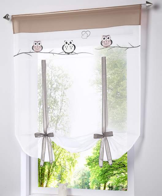 US $9.89 10% di SCONTO Tonalità romana Europeo Gufo ricamo stile tie up  finestra tende finestra tenda cucina tenda voile puro tab top marca in ...