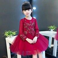 ファッションワイン赤子供女の子ページェントパーティードレスoネックアップリケ花女の子レースのドレス膝丈夜会服プリンセスドレス
