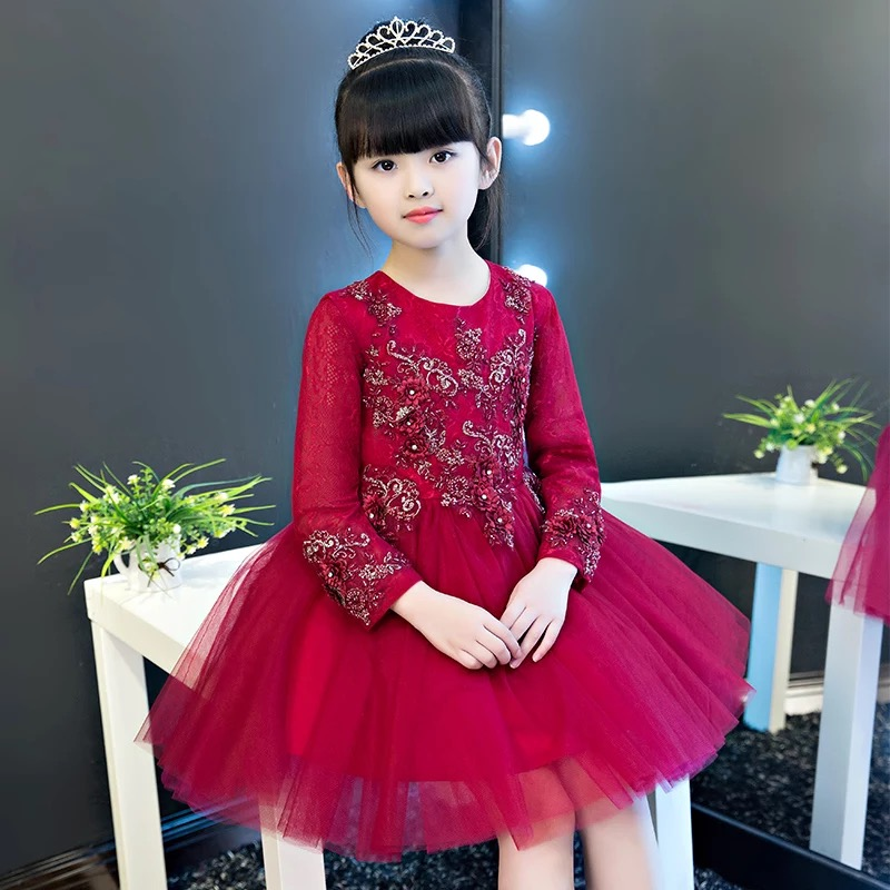 Fashion Wine Red Kids Girls Pageant Party Dress O-Neck Appliques Flowers Girl Lace Dresses Knee Length Ball Gown Princess Dress купить в Москве 2019