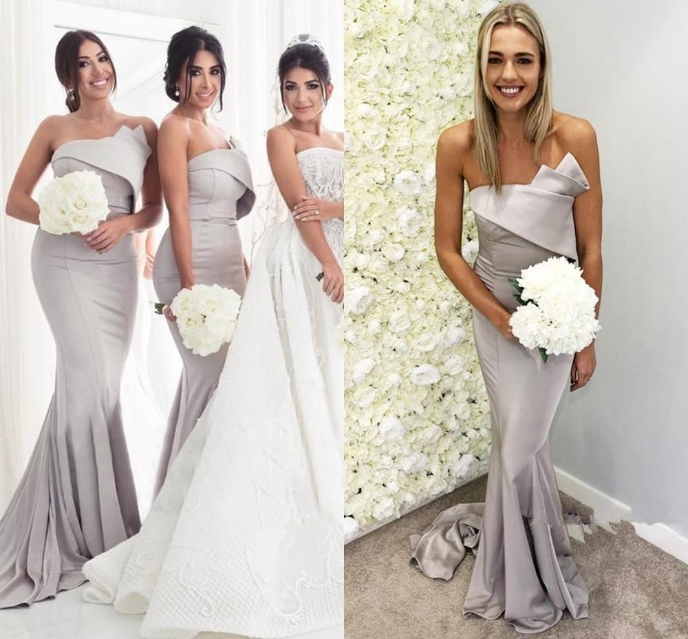 Glamorous Strapless Sleeveless   Bridesmaid     Dresses   2019 Grey Strapless Sexy Mermaid Beach Wedding Party Guest Junior Gown