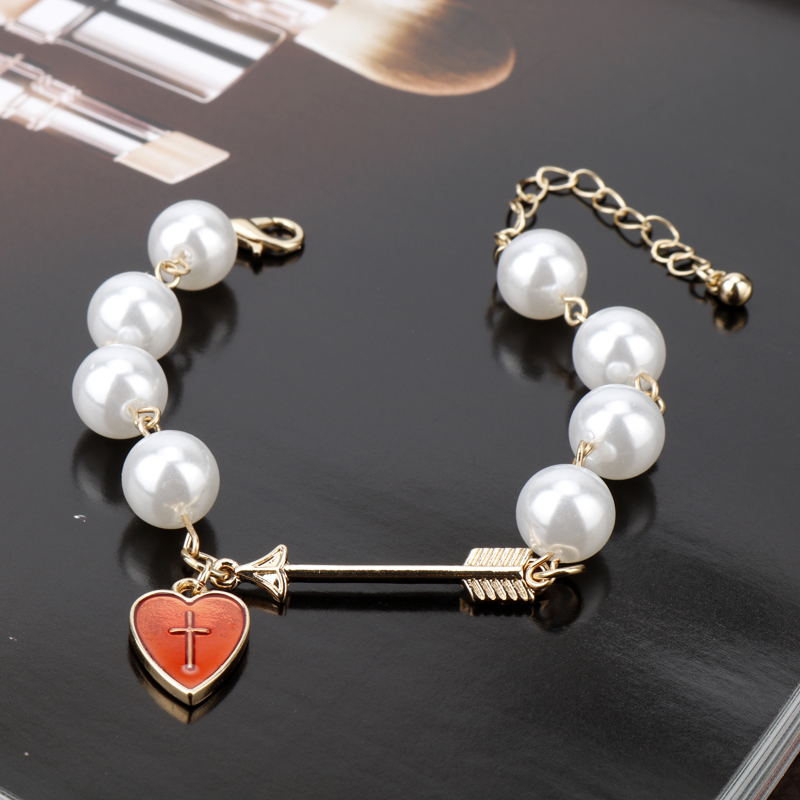 dongsheng Cross Bracelets Imitation Pearl Jewelry Red Love Heart Cupid Arrow Charm Bracelets bangle For Grils Gift -25