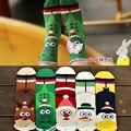 6 par/lote 2016 calcetines de Las Mujeres harajuku estilo retro impreso de santa alces de navidad stock tubo sobretudo feminino