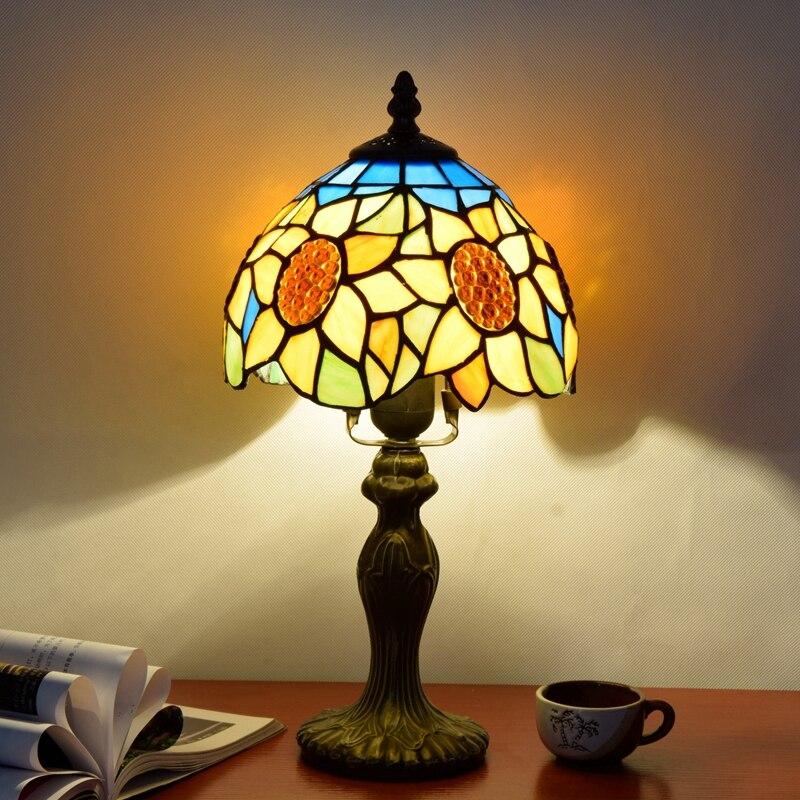 Originality Stained glass Blue Sun flower desk lamp American Pastoral Countryside Bar Decorative LED light 110-240V Dia:20CM