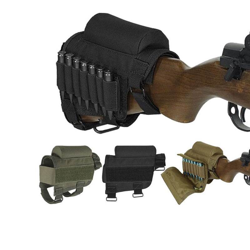 Adjustable Tactical Rifle Cheek Rest Buttstock With Ammo Case Rifle Ammo Round Cartridge Bag Holder Nylon