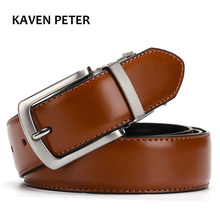 Men's Genuine Leather Belt Reversible For Jeans Male Rotated Buckle Dress Belts