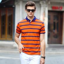 978ee41644e AIRGRACIAS 2017 Summer Mens Polo Shirts Cotton Striped Blue Greeb Orange  Brand Clothing Men