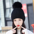 Rabbit Fur Pompom Knitted Hats Women Ski Thermal Hat Top Fashion Female Thickening Skullies All Match Beanies Velvet Hat 7Colors