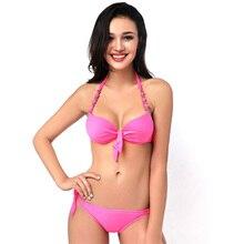 Estilo brasileño trikini bikini push up taza grande de pecho traje de baño femenino del traje de baño bikinis set pantalones lazada lateral arriba elástico 2017