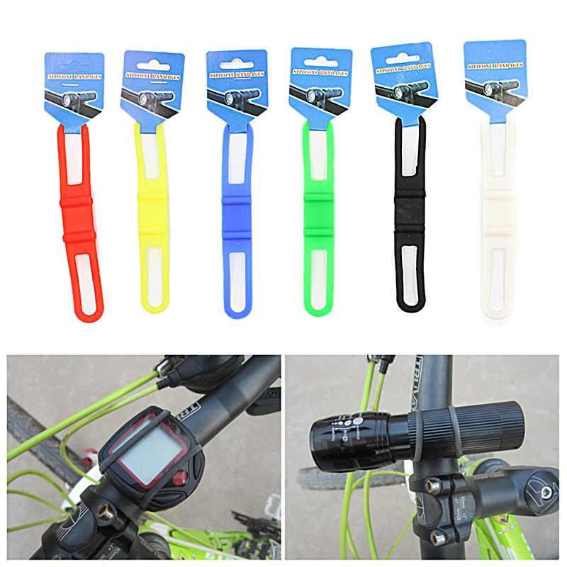 Bicycle Bike Handlebar Silicone Elastic Light Torch FlashLight Phone Bind Strap Mount Holder Bandage Buckle Fastener universal bike bicycle silicone holding elastic strap for flashlight cell phone random color