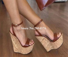 Women Fashion Design Peen Toe Super High Platform Wedge Sandals Ankle Strap Brown Black Big Size Wedge Sandals 15cm Heels