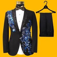2018 Nuovi Uomini Suit terno masculino abiti da sposa per uomo blazer Nero Con Paillettes abiti di scena cantante costumi abiti da uomo con pantaloni