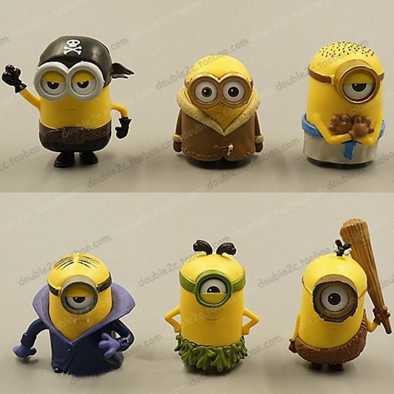 Fabulous Minion Cake Topper 6Pcs 5Cm Toy Minion 3D Minion Birthday Supplies Funny Birthday Cards Online Unhofree Goldxyz