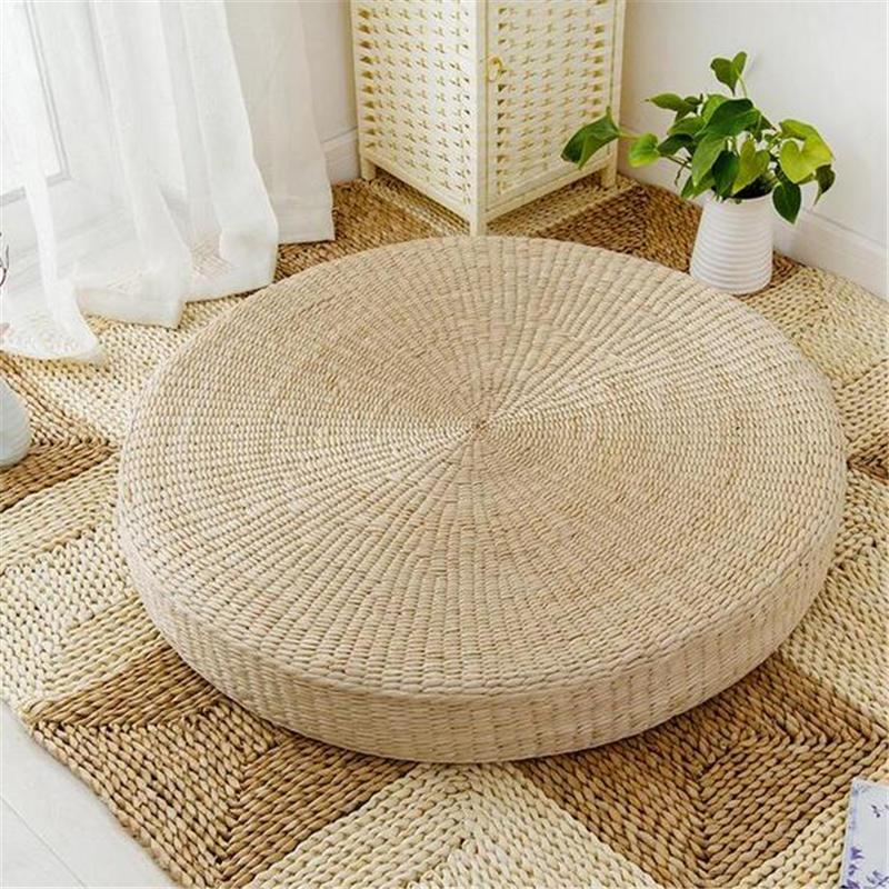 50cm Round Pouf Tatami Cushion Floor Cushions Natural