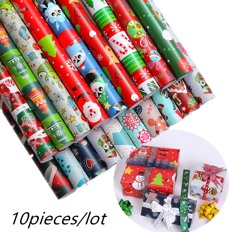 52x75cm Christmas Wrapping Paper Gift Present Tree Wrap Craft Paper Decorative Xmas Party Roll Christmas Gift Kraft Paper