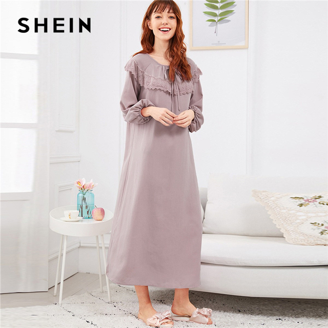 67a555e8c8 SHEIN Abaya Pink Embroidered Flounce Neck Bishop Sleeve Nightdress 2018  Autumn Casual Pullover Women Lace Nightwear