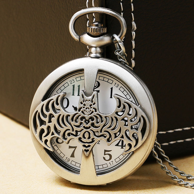 Fashion Batman Dark Knight Steampunk Hollow Quartz Pocket Watch Necklace Chain Gift For Men Boy Cute Watch