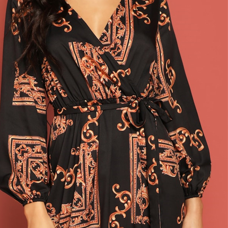 COLROVIE V Neck Scarf Print Belted Wrap Casual Dress Women 19 Spring Long Sleeve Party Maxi Dress Vacation Ladies Dresses 9