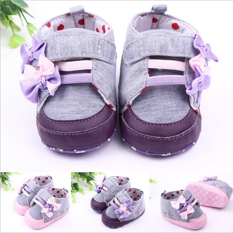 Children Baby Kids Boys Girl Cotton Fabric Sport Bow-knot Dot Floor Shoes Autumn Fashion Non-Slip Soft Toddlers First Walkers