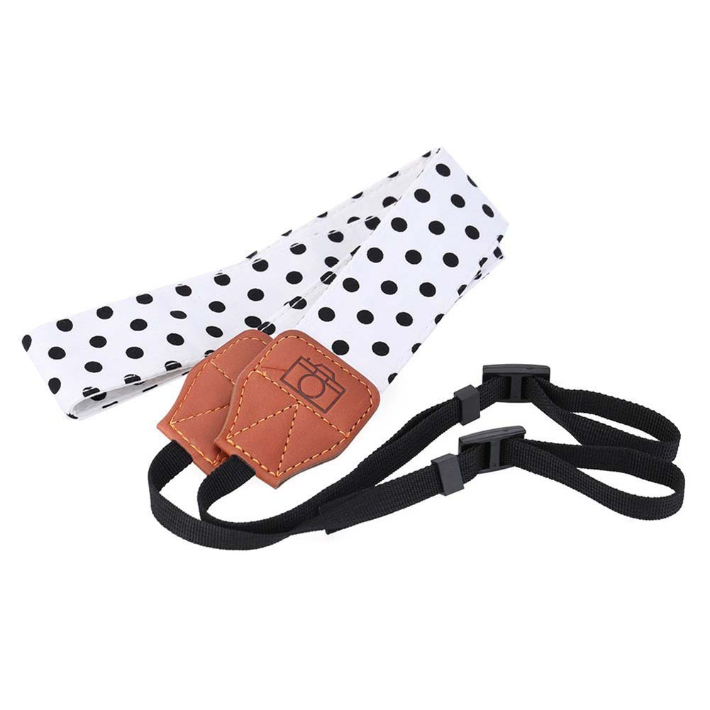 Soft Cotton Polka Dots Camera Shoulder Neck Strap Belt Universal Adjustable with Harness Adapter for Nikon Canon ect