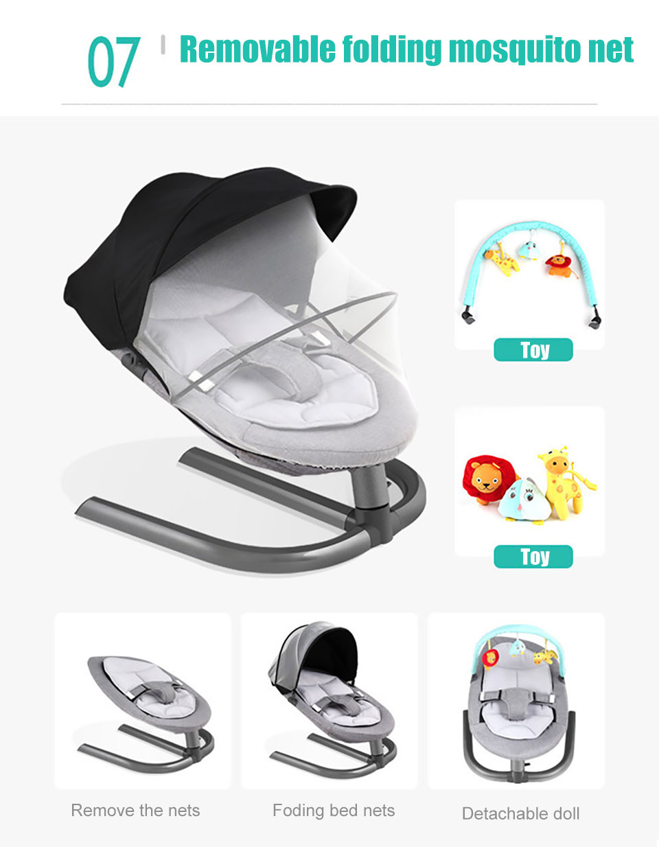 IMBABY Baby Rocking Chair Baby Cradle Baby Swing Rocking Chair For Newborns Swing Chair Infant Cradle Baby Swing Rocking Chair