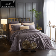 100% Mulberry Silk 4 Pcs Bedding Sets With Hidden Button Both Side 19 Momme Sheet Quilt cover Pillow case King Size Grey