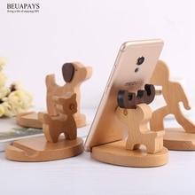 12pcs Wood Crafts Solid wood desktop bedside gift Personal Tailor Customized mobile phone bracket Beech deer mobile phone sloth