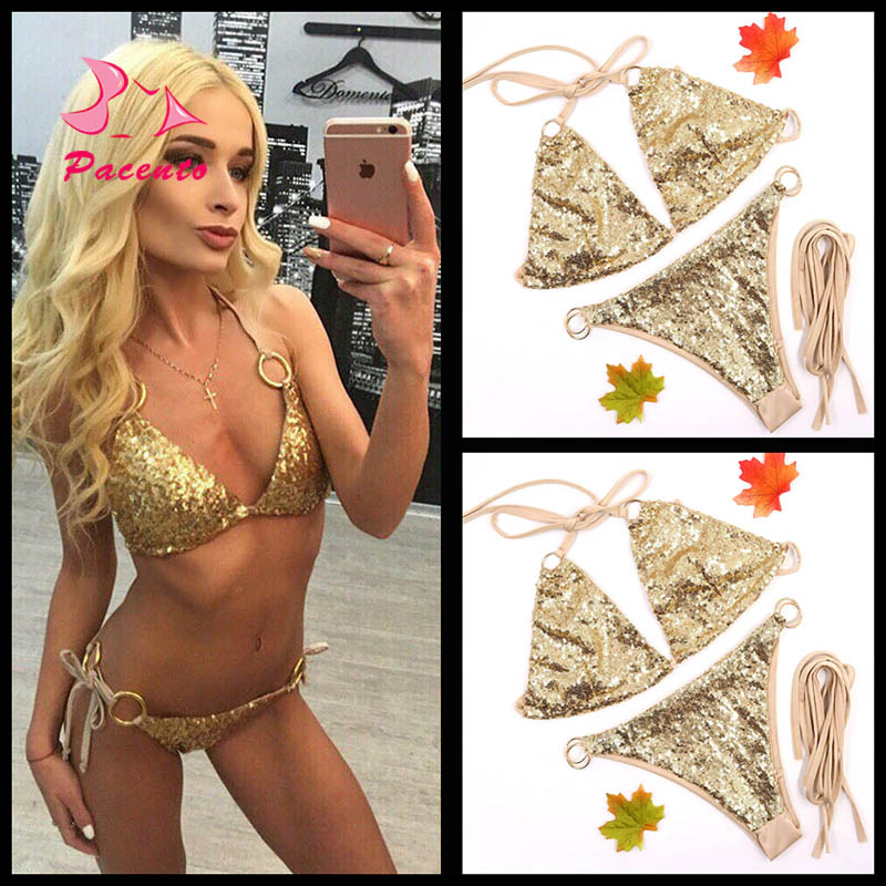 PACENT Sexy Shiny Gold Sequin Swimsuit Halter Bikini Thong Set 2017 New Arrival Bathing Suit Women Swimwear Large Size Plavky XL alfani new gold women s size medium m sequin dolman boat neck sweater $79 064