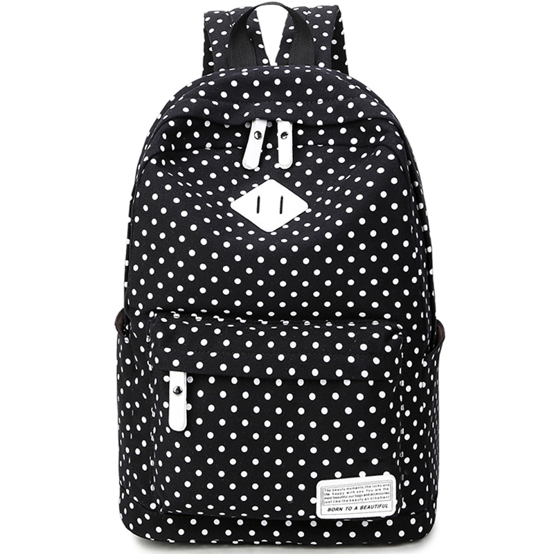 Polka Printing Canvas Women Casual Daypack Bag Backpack for Teenage Girls Mochila Femenina Vintage Style School