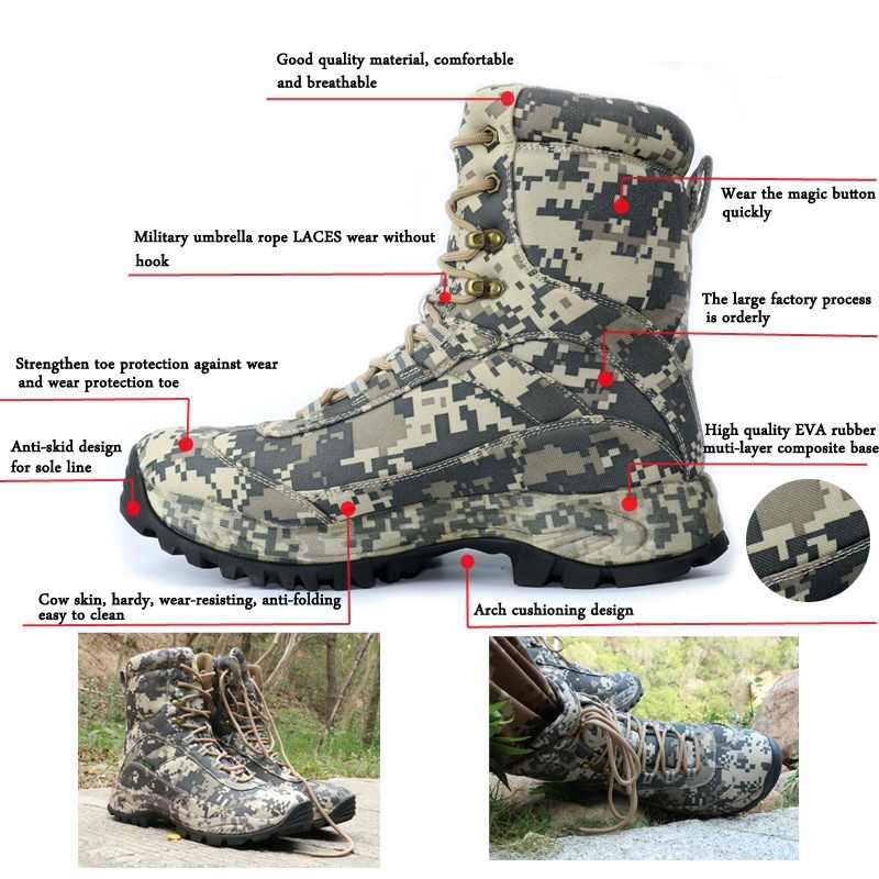 a6d7d666525 CUNGE Outdoor Tactical Sport Men's Shoes For Camping Climbing boots Men  Hiking Boots Mountain Non-slip Waterproof Hunting Boots