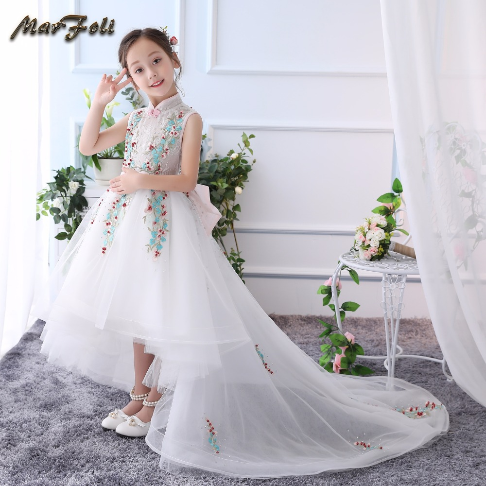 Marfoli Flower Girl Princess Birthday Wedding Party Dresses With Long Train and Lace Kids Costume Dresses For Girls #T17063