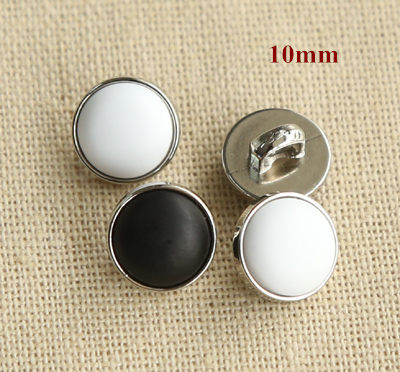 30pcs/lot Size:10mm Cute round shank button for shirt,black / white button for sewing plastic plating button for diy(ss-704)