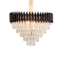 American light luxury chandelier post modern minimalist living room bedroom dining room lamp creative gold round crystal lamp post modern crystal chandelier designer stainless steel hotel sample room metal light luxury bedroom dining room lamps