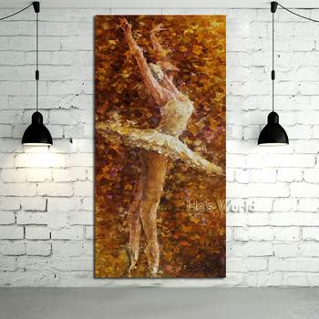100%handpainted High Quality Oil painting On Canvas Beautiful Ballet Girl Pictures Canvas Wall Art Knife Home Dector