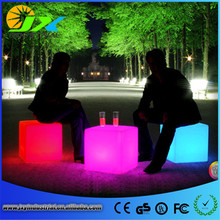LED rechargeable battery working more than 8 hours colours change remote control Cube Stool Chair