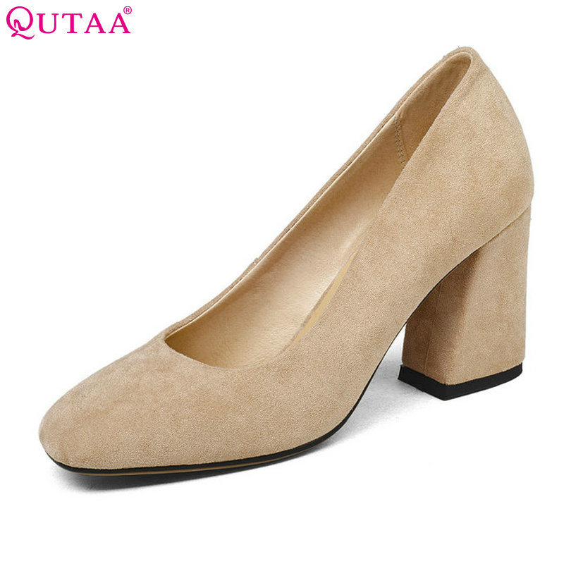 QUTAA 2018 Shoes Women Flock Spring Square High Heel Platform Women Pumps Slip On Black Ladies Wedding Woman Shoes Size 34-43 esveva 2017 women pumps mary janes spring autumn shoes square high heel pumps flock party wedding women shoes big size 34 43