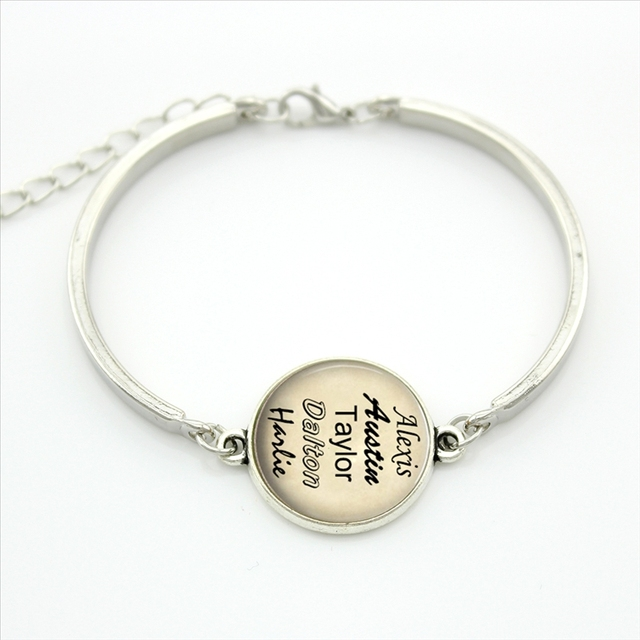 TAFREE Personalized jewelry custom your family names bracelet gift for family friend Glass Cabochon Photo three colors NA01