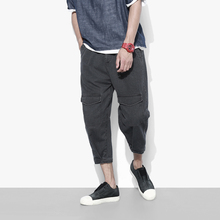 The twenty-eight summer original solid Multi Pocket tooling seven pants Metrosexual jeans pants male young students